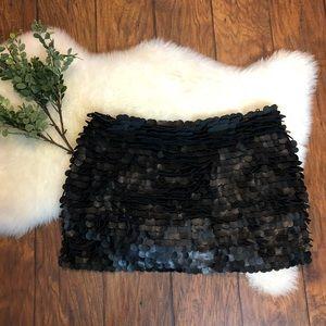 Zara Woman faux leather circle fringe skirt